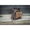 Torba torebka skórzana ręcznie robiona Alicja z jednym paskiem i dużą kieszonką  brąz