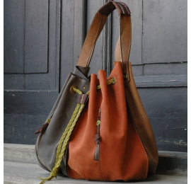 Marlena handmade natural leather tote bag in beautiful colour variations made by Ladybuq Art Studio