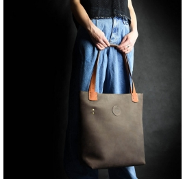 Original leather purse made by Ladybuq, Zuza in Dark Brown color with Orange accents