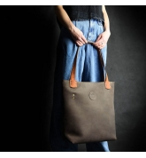 unique brown bag with bright orange accents made by ladybuq art