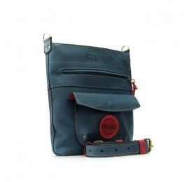 Skórzana damska torebka Babette w kolorze Granatowym i Malinowym z długim, regulowanym paskiem na ramię