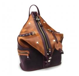 Skórzany plecak wykonany ręcznie ze skóry w kolorach Śliwkowym oraz Rudym przez Ladybuq Art