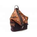 Leather woman backpack made by hand out of leather in Plum and Ginger colors by Ladybuq Art