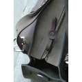 Handmade bag vintage style with pocket clutch and a strap khaki and brown