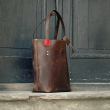 Zuza with exterior zippered pocket in Vintage Brown colour with Red accents, original vintage style bag