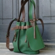 Jenny green colour big handmade real leather bag made by Ladybuq Art
