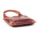 Woman leather bag made by hand oversize in ginger color