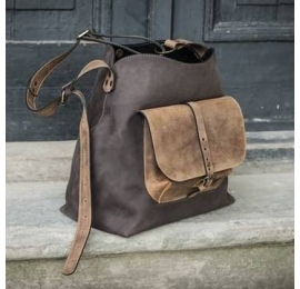 Leather bag Alicja with one strap chocolate brown