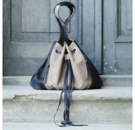 Leather handmade bag Marlena in Beige and Navy Blue colors made by Ladybuq Art