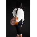 skórzana torebka na ramię basia od ladybuq art w stylu vintage kolor camelowy