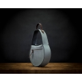 woman leather bag in grey color with brown accents made by ladybuq art evening purse