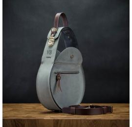 sac en cuir pour femme de couleur grise avec des accents marron fait par ladybuq art soir sac à main