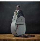 damska skórzana torebka w kolorze szarym z brązowymi akcentami od ladybuq art, torebka na wieczór