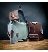Ręcznie wykonany skórzany zestaw torebka Inez, kopertówka, portfel, portfelik na karty, kopertówka i obudowa na notes