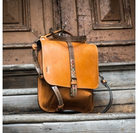 Leather backpack in Camel color, crossbody purse in 3 sizes to choose from made by Ladybuq Art