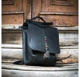 élégant sac à main noir et sac à dos 2 en 1 avec poches zippées fabriqués par ladybuq art