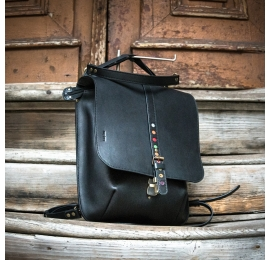 stylowa czarna torebka i plecak 2 w 1 z kieszeniami na zamek od ladybuq art