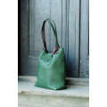 Zuza bag with magnet closure in green Colour made out of beautiful, natural leather by Ladybuq Art