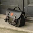 Messenger black unique laptop backpack ladybuq original handmade natural leather product