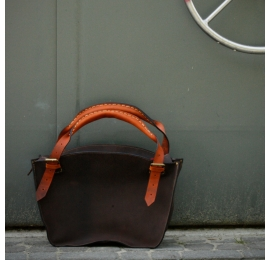 Designer handmade tote bag with clutch dark brown with orange handles