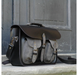 Messenger black and grey Ladybuq Art original handmade natural leather messenger bag