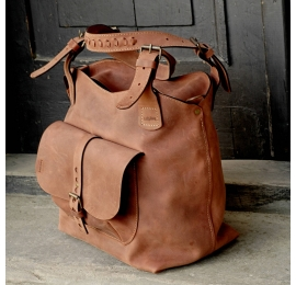 Leather bag Alicja large, with a long strap color ginger.