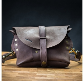 Leather fanny pack and shoulder bag in one Chocolate Brown color