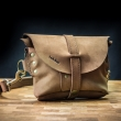 Leather fanny pack with long, adjustable strap Cappuchino color