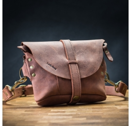 Leather fanny pack/small rossbody bag Brick color