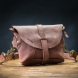 Small leather fanny pack with long strap Brick color
