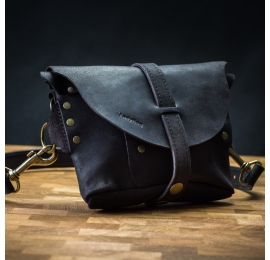 Leather handmade fanny pack in Matte Black color