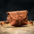 Leather handmade fanny pack/shoulder bag in Orange color