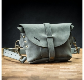 Handmade leather fanny pack/shoulder bag in Grey color