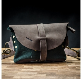 Leather woman fanny pack in Chocolate Brown color with Green suede
