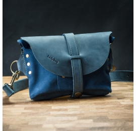 Handmade fanny pack made out of natural leather in Blue color with Navy Blue suede
