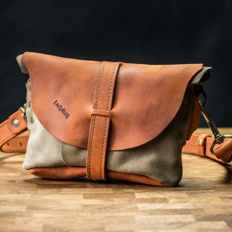 Shoulder bag/leather fanny pack made by Ladybuq in Orange color with Beige suede