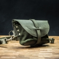Crossbody bag/leather fanny pack made by Ladybuq in Khaki color