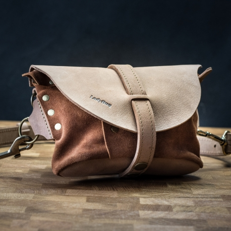Small leather fanny pack and shoulder bag in one Light Brown color with Brown suede