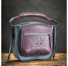 oryginalna skórzana torebka, damska torebka na ramię lub do ręki w kolorach granat i śliwka