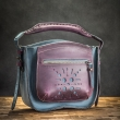 Women leather purse in Navy Blue color with external pocket in Plum color made by Ladybuq