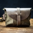 Leather fanny pack/crossbody purse made by Ladybuq in Vintage Brown color with Khaki suede