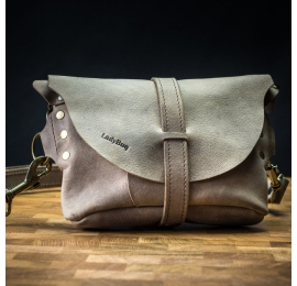 Crossbody purse/leather fanny pack in Beige color