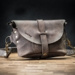 Leather crossbody purse/handmade fanny pack in Montana Brown color