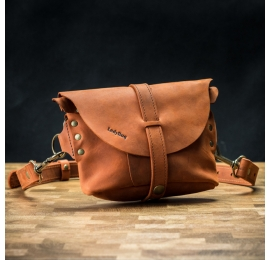Skórzana ręcznie wykonana nerka/torebka na ramię w kolorze Pomarańczowym