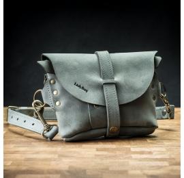Handmade leather fanny pack/shoulder bag in Grey color
