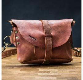 Skórzana nerka i torebka na ukos w jednym w kolorze Koniak