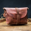 Leather fanny pack and crossbody purse in one Cognac color