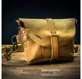 Shoulder bag/leather fanny pack made by hand in Whiskey color