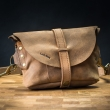 Leather handmade fanny pack, crossbody purse in Light Brown color