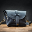 Leather handmade fanny pack in Montana Navy Blue color